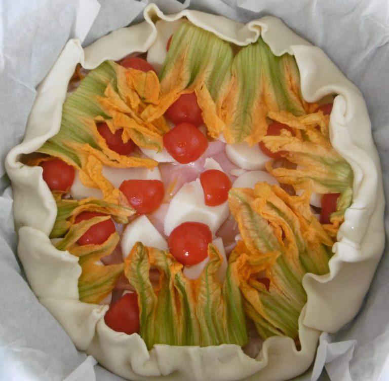 Torta salata fantasiosa - Aggiunta fiori di zucca