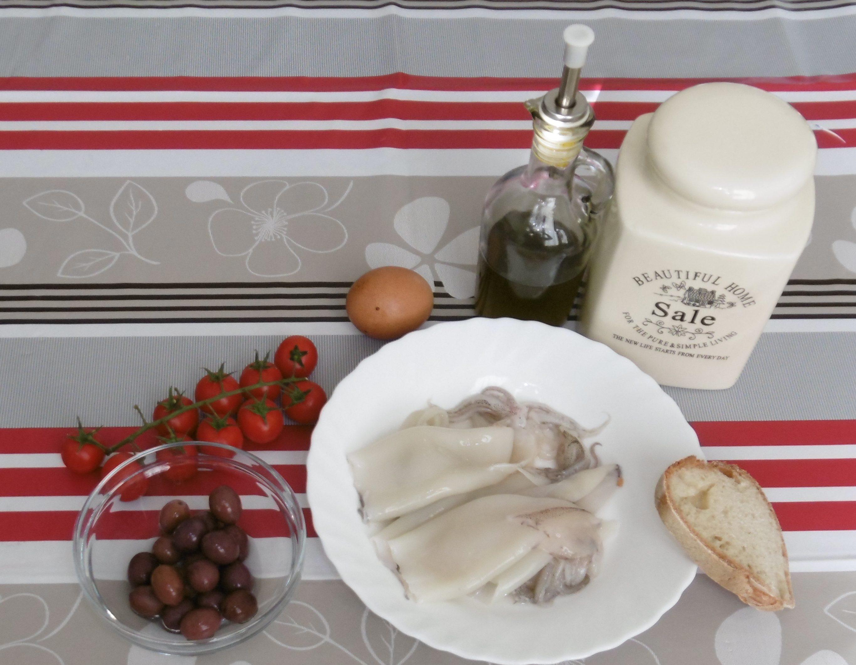 Calamari ripieni con pomodorini e olive - Ingredienti