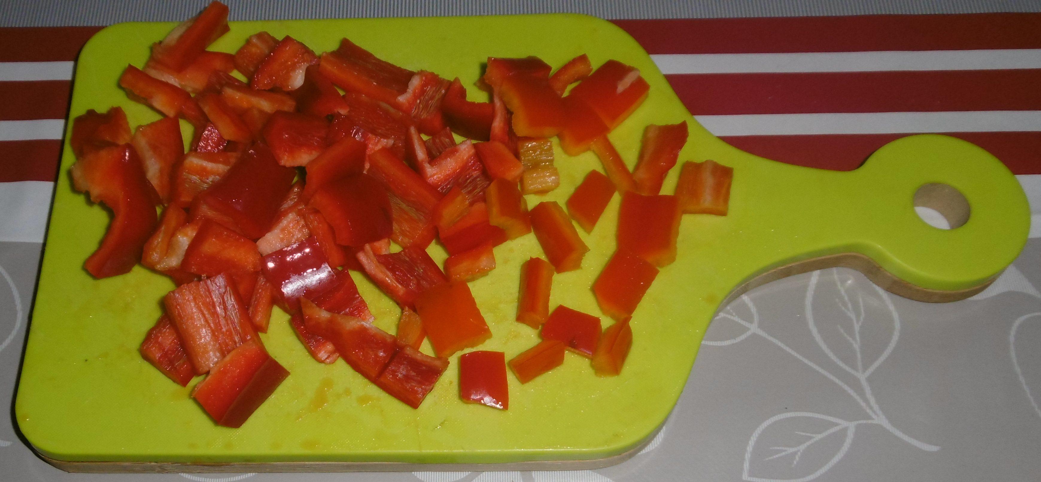 Straccetti di pollo con peperoni - Peperoni tagliati