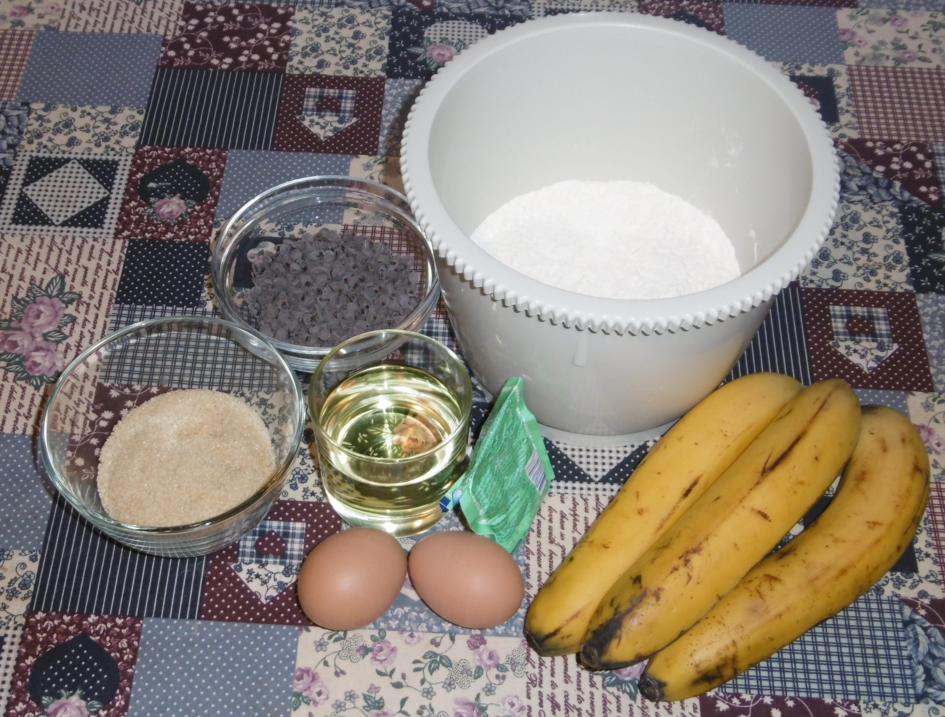 Muffin banane e cioccolato senza burro - Ingredienti