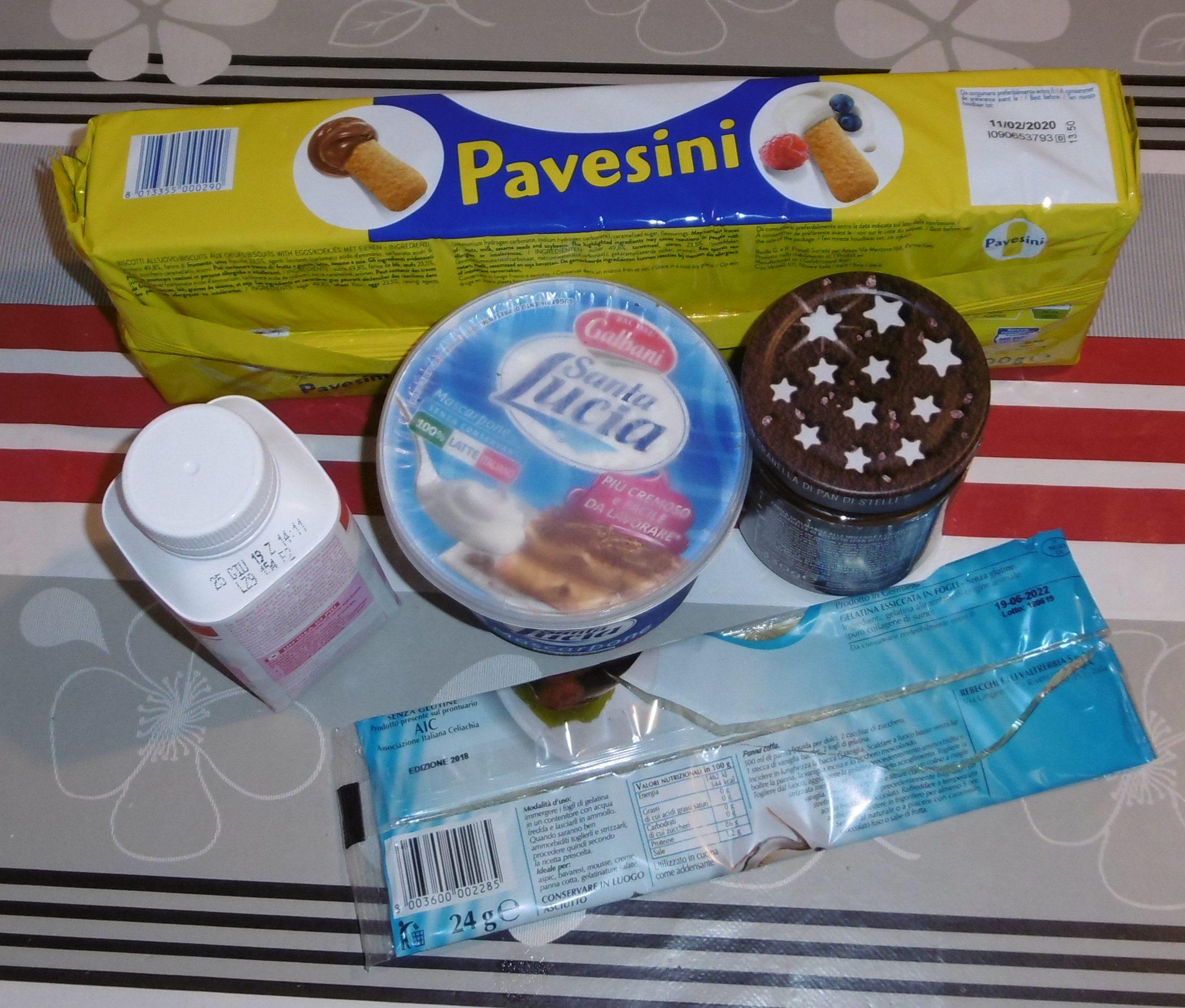 Semifreddo con pavesini, mascarpone e crema pan di stelle - Ingredienti